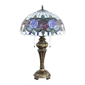 16inch European Retro Style Table Lamp Colorful Flower Pattern Glass Shade Bedroom Living Room Dining Room Lights