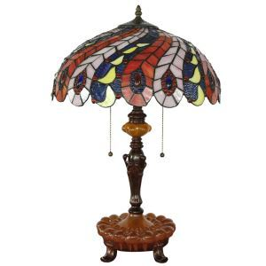 16inch European Retro Style Table Lamp Colorful Phoenix Tail Glass Shade  Bedroom Living Room Dining Room Lights