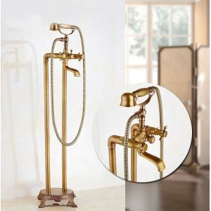 Antique Brass Single Handle Wall Mount Rain + Handheld Floor Standing Faucet