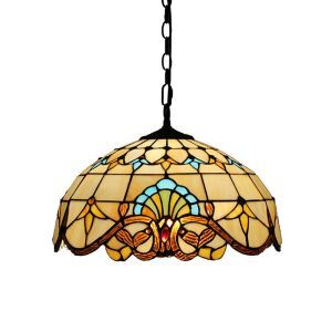 16inch European Pastoral Retro Style Pendant Lights Multicolor Pattern Glass Shade Bedroom Living Room Dining Room Kitchen Lights