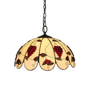 16inch European Pastoral Retro Style Pendant Lights Grapes Pattern Glass Shade Bedroom Living Room Dining Room Kitchen Lights