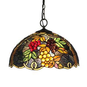 16inch European Pastoral Retro Style Pendant Lights Multicolor Grapes Pattern Glass Shade Bedroom Living Room Dining Room Kitchen Lights