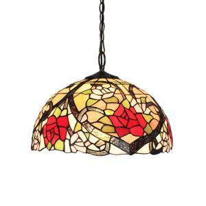 16inch European Pastoral Retro Style Pendant Lights Red Rose Pattern Glass Shade Bedroom Living Room Dining Room Kitchen Lights
