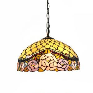16inch European Pastoral Retro Style Pendant Lights Multicolor Rose Pattern Glass Shade Bedroom Living Room Dining Room Kitchen Lights
