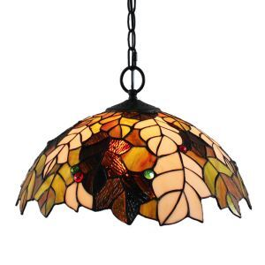 16inch European Pastoral Retro Style Pendant Lights Multicolor Leaves Pattern Glass Shade Bedroom Living Room Dining Room Kitchen Lights