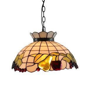 16inch European Pastoral Retro Style Pendant Lights Fruits Pattern Glass Shade Bedroom Living Room Dining Room Kitchen Lights