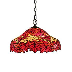 16inch European Pastoral Retro Style Pendant Lights Crimson Maple Leaves Pattern Glass Shade Bedroom Living Room Dining Room Kitchen Lights