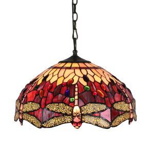 16inch European Pastoral Retro Style Pendant Lights Dragonfly Pattern Red Glass Shade Bedroom Living Room Dining Room Kitchen Lights