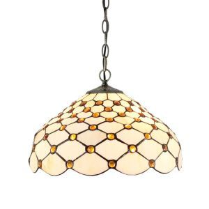 16inch European Pastoral Retro Style Pendant Lights Scale Pattern Glass Shade Bedroom Living Room Dining Room Kitchen Lights