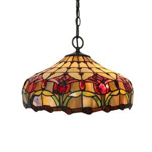 16inch European Pastoral Retro Style Pendant Lights Red Flowers Pattern Glass Shade Bedroom Living Room Dining Room Kitchen Lights