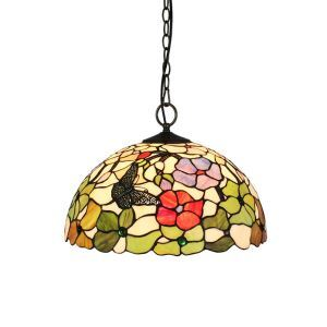 16inch European Pastoral Retro Style Pendant Lights Butterfly Flowers Pattern Glass Shade Bedroom Living Room Dining Room Kitchen Lights