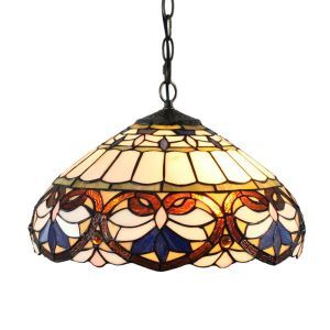 16inch European Pastoral Retro Style Pendant Lights Multicolor Pattern Glass Shade Bedroom Living Room Dining Room Kitchen Lights