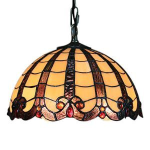 60W Tiffany Pendent Light with Brown Fringe
