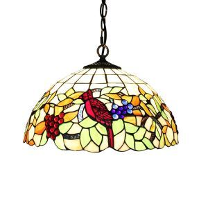 16inch European Pastoral Retro Style Pendant Lights Bird and Grapes Pattern Glass Shade Bedroom Living Room Dining Room Kitchen Lights