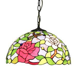 16inch European Pastoral Retro Style Pendant Lights Multicolor Flowers Pattern Glass Shade Bedroom Living Room Dining Room Kitchen Lights