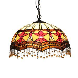 16inch European Pastoral Retro Style Pendant Lights Multicolor Pattern Glass Shade Glass Beads Pendants Bedroom Living Room Dining Room Kitchen Lights