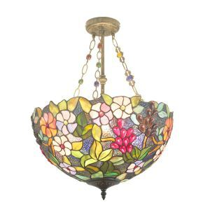 Modern chandelierscheap chandelier lighting for sale homelava 16inch european pastoral retro style chandeliers multicolor flower pattern glass shade bedroom living room dining room mozeypictures Images