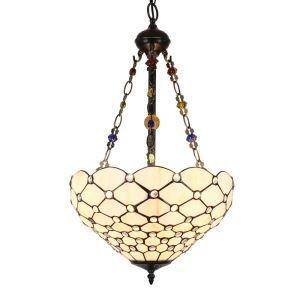 16inch European Pastoral Retro Style Chandeliers Scale Pattern Glass Shade Bedroom Living Room Dining Room Kitchen Lights