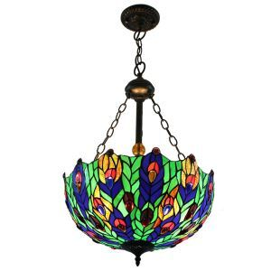 16inch European Pastoral Retro Style Chandeliers Multicolor Leaves Pattern Glass Shade Bedroom Living Room Dining Room Kitchen Lights