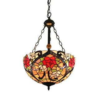 16inch European Pastoral Retro Style Chandeliers Multicolor Rose Pattern Glass Shade Bedroom Living Room Dining Room Kitchen Lights