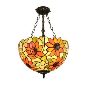 16inch European Pastoral Retro Style Chandeliers Lotus Pattern Glass Shade Bedroom Living Room Dining Room Kitchen Lights