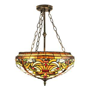 16inch European Pastoral Retro Style Chandeliers Multicolor Pattern Glass Shade Bedroom Living Room Dining Room Kitchen Lights