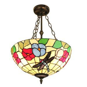 16inch European Pastoral Retro Style Chandeliers Dragonfly Flower Pattern Glass Shade Bedroom Living Room Dining Room Kitchen Lights