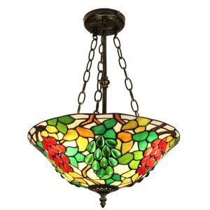 16inch European Pastoral Retro Style Chandeliers Multicolor Fruit Pattern Glass Shade Bedroom Living Room Dining Room Kitchen Lights