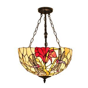 16inch European Pastoral Retro Style Chandeliers Dragonfly and Red Flower Pattern Glass Shade Bedroom Living Room Dining Room Kitchen Lights