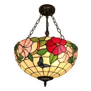16inch European Pastoral Retro Style Chandeliers Butterfly and  Flower Pattern Glass Shade Bedroom Living Room Dining Room Kitchen Lights