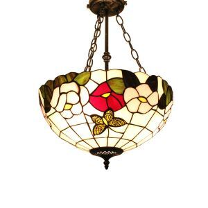 16inch European Pastoral Retro Style Chandeliers Multicolor Flower Pattern Glass Shade Bedroom Living Room Dining Room Kitchen Lights