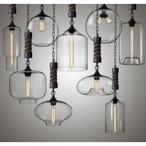 Industrial Colored LOFT Glass Chandelier Pendant Light