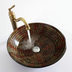Retro Style Round Multicolor Tempered Glass Bathroom Sink(Faucet Not Included) Square Lattice Pattern
