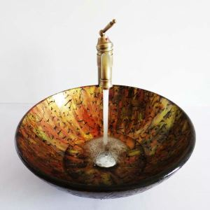 Retro Style Round Multicolor Tempered Glass Bathroom Sink(Faucet Not Included) Leaves Pattern