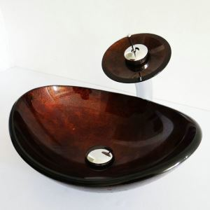 Retro Style Oval Tempered Glass Bathroom Sink With Waterfall Faucet Mounting Ring and Water Drain Set Dark Brown