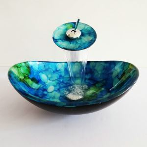 Modern Simple Oval Tempered Glass Bathroom Sink With Waterfall Faucet Mounting Ring and Water Drain Set Blue and Green Pattern