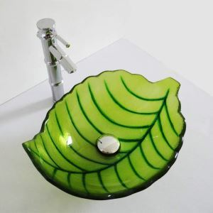 Modern Simple Tempered Glass Bathroom Sink Green Leaf Shape