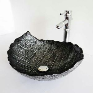 Modern Simple Tempered Glass Bathroom Sink Black Leaf Shape