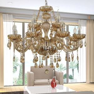 12 light The style of palace Glass Chandelier With Candle Bulb