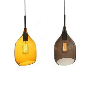 Bevel Incision Industrial Pendant Light in Orange/Grey