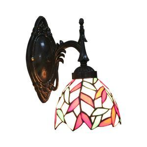 6inch European Pastoral Retro Style Wall Light Colorful Leaves Pattern Shade Living Room Dining Room Kitchen Lights