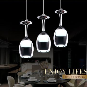 3Wx3 LED Light Cup Chandelier Wineglass Pendant Lamp For Living Room Bar Saloon Dining Lighting Ideas