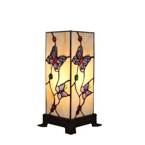 6inch European Pastoral Retro Style Table Lamp Butterfly Pattern Square Prism Lamp Shade Bedroom Living Room Dining Room Lights