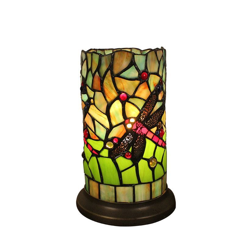 6inch European Pastoral Retro Style Table Lamp Colorful Texture Dragonfly  Pattern Cylinder Lamp Shade Bedroom Living ...