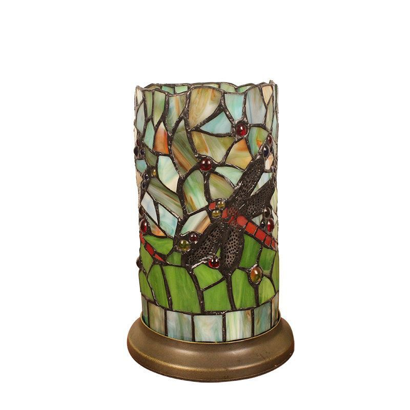 ... 6inch European Pastoral Retro Style Table Lamp Colorful Texture  Dragonfly Pattern Cylinder Lamp Shade Bedroom Living ...
