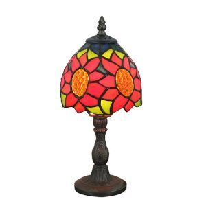 6inch European Pastoral Retro Style Table Lamp Red Sunflower Pattern Lamp Shade Bedroom Living Room Dining Room Lights