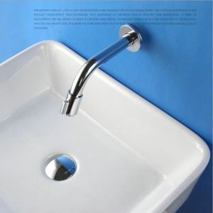 Modern Simple Style Bathroom Chrome Plating Faucet Wall Mounted Single Hole Single Handle