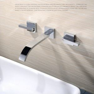 Modern Simple Style Bathroom Chrome Plating One-piece Sink Faucet Wall Mounted 3 Hole Double Handle