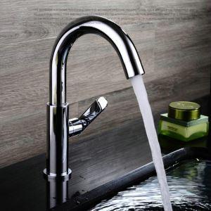 Modern Simple Style Bathroom Chrome Plating Sink Faucet Deck Mounted Single Hole Single Handle