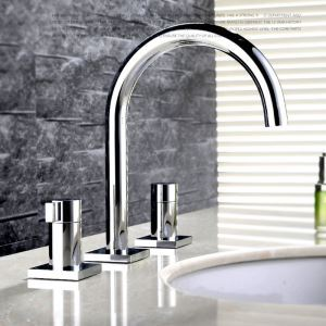 Modern Simple Style Bathroom Chrome Plating Sink Faucet Deck Mounted 3 Hole Double Handle